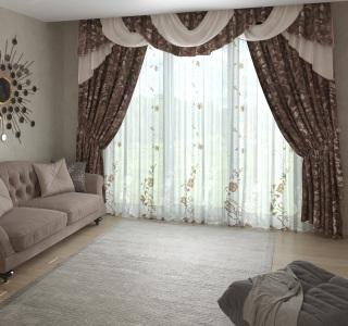 Комплект штор из 3 изделий 'Диана' (вуаль, портьера, ламбрекен)