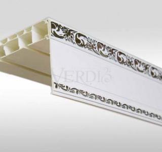 Потолочный карниз Афина прямой с пластиковой декоративной планкой 3х рядный  3,50м