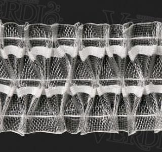 Тесьма С 104 органзовая, ширина рулона 6 см, 3 нити, в бобине 50м