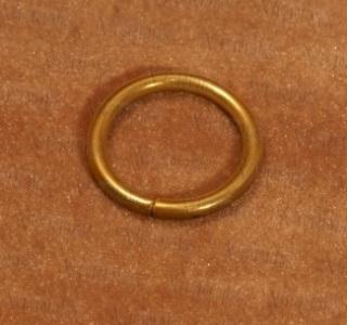 Кольцо с крючком D-16 мм матовое золото