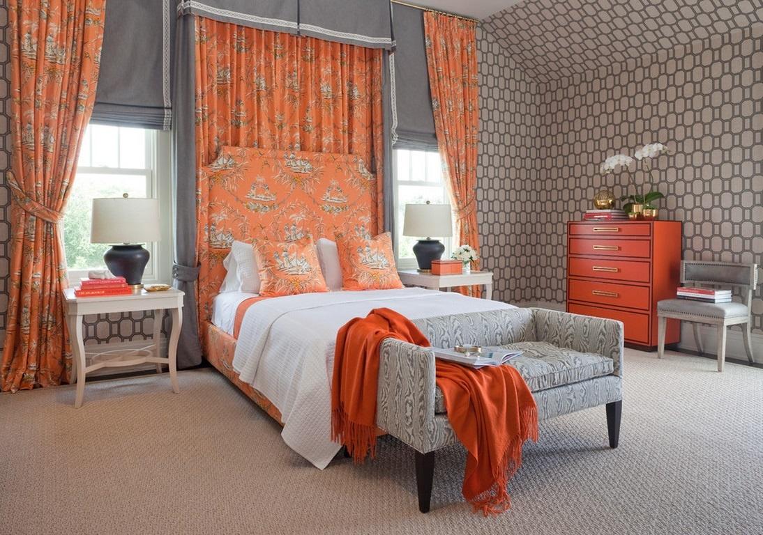 Шторы в спальню оранжевые с узорами
