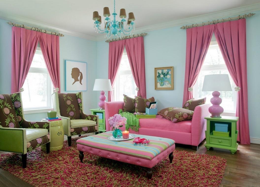 Шторы в гостиную фиолетового цвета в горошек