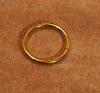 Кольцо с крючком D-16 мм глянцевое золото