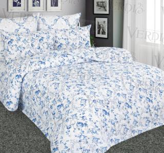 КПБ перкаль печатный Синие розы 2-спальный